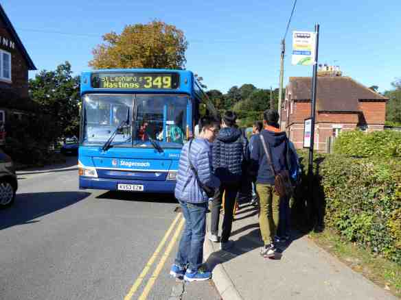 Monday 3rd October. A large group of foreign language students from Thailand at the castle bus stop.