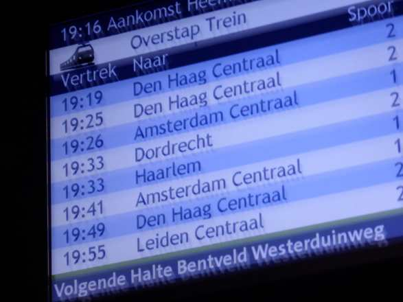 Alternating with bus stop arrival times, this display switches to connecting train info at relevant points en-route.